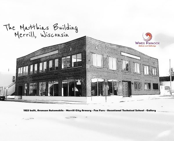 Matthias Building T-shirt, building with logo and history